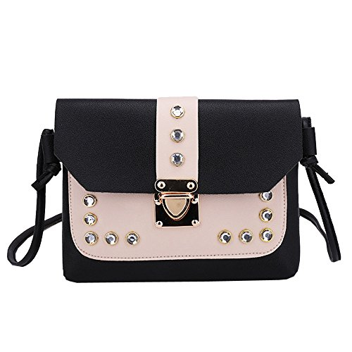 XXYsm Damen Elegant Tasche Schultertasche Umhängetasche Handtasche Kleine Damentasche Retro Vintage Messenger Bag mit Strass Citytasche Schwarz