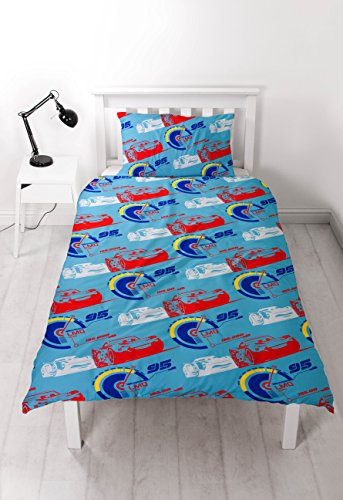 "Image of DISNEY CARS 3 ""Lightning"" Duvet Set Repeat Print Design, Multi-Colour, Single"