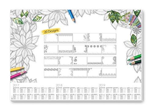 Sigel HO540 Sous-main Bloc Papier avec calendrier sur 3 ans, 59,5 x 41 cm, 20 motifs, 20 feuilles