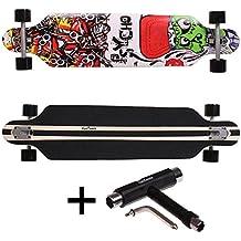 FunTomia® Freerider Longboard - 107cm x 26cm - rodamientos ABEC-11 - hecho con 9 capas de madera de arce (Psycho + T-Tool)