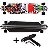 FunTomia® Longboard 42 INCH (107cm) maple wood with 9 layers / MACH1® ABEC-11 High Speed bearings / Big Wheels 70x51mm (psycho + T-Tool)