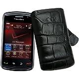 BlackBerry 9520 Storm2 - Leder Etui Tasche *Lasche mit Rueckzugfunktion* (Original SunCase) Exklusive Croco Style - in der Farbe Schwarz