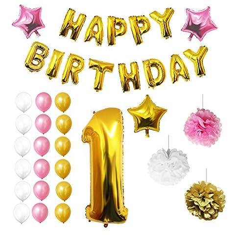 1. Geburtstag Luftballons Happy Birthday Folienballons Party Zubehör Set & Dekorationen von Belle Vous - große Folienballons für den 1. Geburtstag - Gold, weiß & rosa Latex-Ballon-Dekoration - Dekor für alle Kleinkinder geeignet