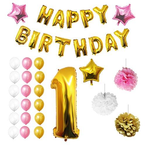Happy Birthday Party Luftballons u. Dekoration zum 1. Geburtstag von Belle Vous - 26-tlg. Set - Großer 1 Jahr Folienballon - 30,5cm Gold, Weiße u. Rosa Dekorative Latexballons - Dekor für Kleinkinder (Blumen-wand-tasche)