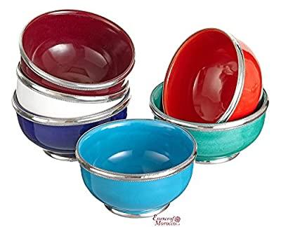 Moroccan Ceramic Bowl with Silver Edge. 12 cm Handmade in Morocco. from Essence of Morocco Ltd.