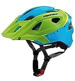 Cratoni Kinder Allride Fahrradhelm, Green/Blue Matt, 53-59 cm