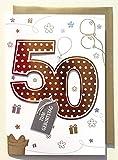 A4 XXL Geburtstagskarte 50 kupferrot mit Applikation
