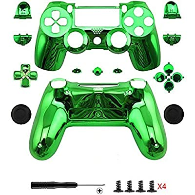 Canamite® case shell, chrome modding, cover shell for Playstation, PS4, DualShock 4 controller, green from Canamite