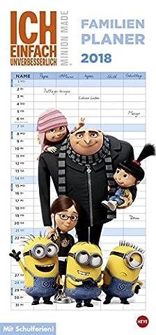 Minions - Ich einfach unverbesserlich 3 - Familienplaner - Kalender 2018 - Heye-Verlag - Familienkalender - Mit 5 Spalten mit Schulferien - 21 cm x 45 cm