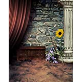 A.Monamour Vintage Grunge Stone Brick Wall Red Drapes Floor Wall Mural Photography Backdrops