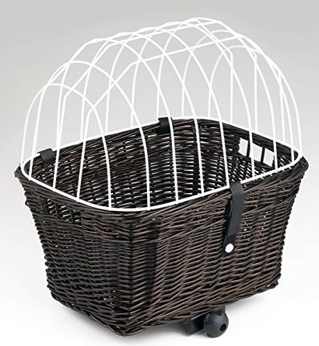 Tigana - Hundefahrradkorb für Gepäckträger aus Weide 44 x 34 cm mit Metallgitter und Kissen eckig Tierkorb in BRAUN (B-W)