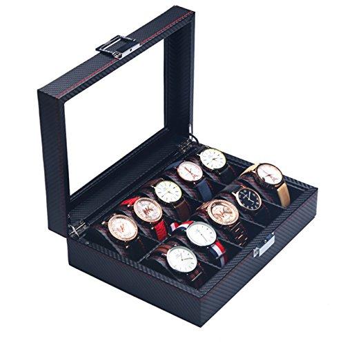 Carbon Fiber Effect PU Leder Kohlefaser Uhrenboxen,Holz Uhrenbox, mechanische 6 Uhr Displaybox,Organizer Storage Case, Sammlung Aufbewahrungsbox-A (10 uhren) Anzeige Storage Box Organisieren