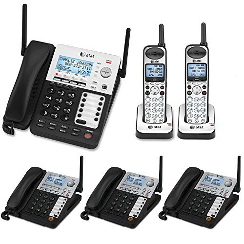 AT&T SynJ 4-Line Corded/Cordless Business Phone System with 3 Cordless Desksets & 2 Cordless Handsets by AT&T 2-line Cordless Phone System