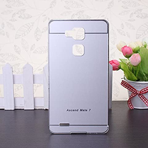 EKINHUI Huawei Mate 7 Coque; Luxe M¨¦tal Aluminium Bumper Coque d¨¦tachables + Hard Back 2 en 1 Ultra Cover chassis mince pour Huawei Mate 7(Silver)