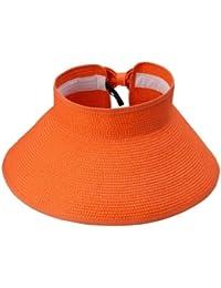 Smile YKK verano niña Lady playa sol visera plegable enrollable ala ancha sombrero de paja