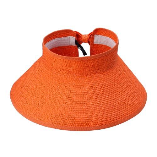 JTC Femmes Hommes Chapeau de Paille/ de Soleil Panama Plage/en Paille Sans Sommet Réglable Pliant 12 Couleurs Orange