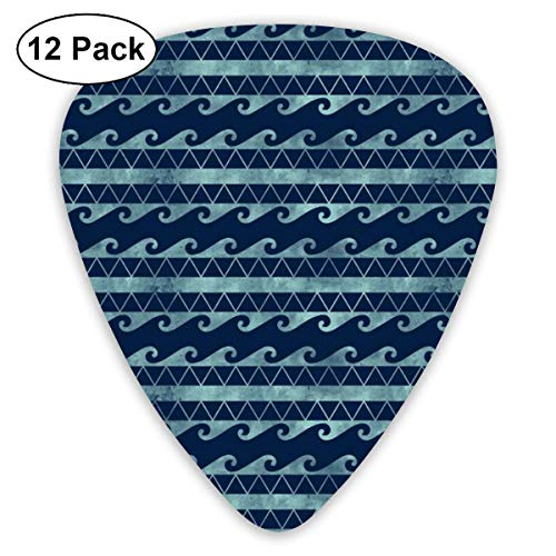 Tribal Stripes - Navy_3580 Classic Celluloid Picks, 12-Pack, For Electric Guitar, Acoustic Guitar, Mandolin, And Bass -