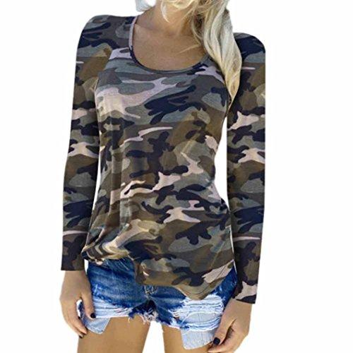 Internet Damen Camouflage T-shirt Langarm Beiläufige Lose Tops Damen Bluse (S, Grün) (Camouflage-mädchen-socken)