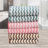 Ravsons Luxury Microfiber Hand Towels, Super Absorbent, Ultra-Soft, Fade Resistant, Pack of 6 (Pink, Blue, Brown)