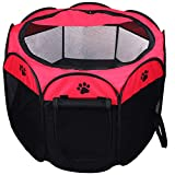 Coolty Portable Folding Pet Playpen, 8-Panel Kennel Pet Tent for Dogs Cats Rabbits