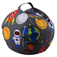 THEE Canvas Stuffed Animal Storage Bean Bag Chair Kids Plush Toy Clothes Quilts Organizer