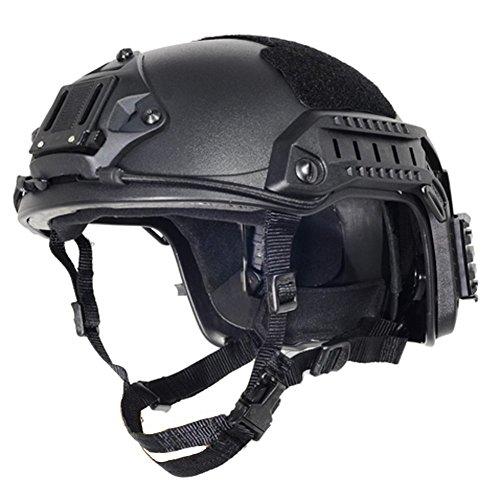 Frei Größe Tactical ABS Airsoft Sicherheit Helm schwarz schwarz