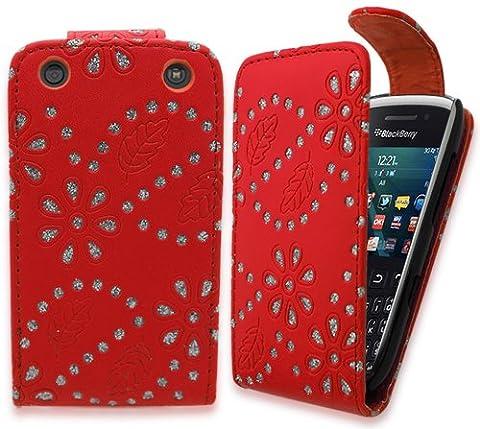 Gadget Giant Blackberry Curve 9320–Bling Étui à rabat en cuir PU pour & Film protecteur d'écran LCD–Design Floral