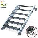 Außentreppe 6 Stufen 100 cm Laufbreite - ohne Geländer - Anstellhöhe variabel von 100 cm bis 120 cm - Gitterroststufe ST3 - feuerverzinkte Stahltreppe mit 1000 mm Stufenlänge als montagefertiger Bausatz