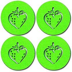 SUPMO Filzuntersetzer Glasuntersetzer rund in bunten Farben mit Obst Motiven (Farbe + Design wählbar), 5mm dick, elegant und auffallend - Untersetzer aus Filz für Getränke Gläser Schalen (8er, Grün)