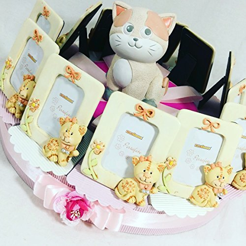 Torta bomboniera cornici portafoto con gattini per battesimo nascita comunione