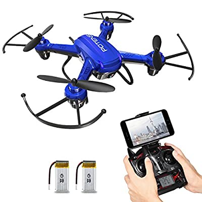 Drone with Camera, Potensic® F186WH Hover RC Drone RTF Altitude Hold Mini Quadcopter UFO with 2MP WiFi Camera - Blue
