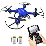 Drone avec Caméra, Potensic® F186WH Mini WiFi RC Quadcopter RTF Altitude Tenir Drône UFO avec Caméra HD - Bleu