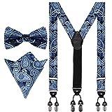 Aissy Hosenträger für Herren Neue Version 3.5cm Y-Form Elastisch und Längenverstellbar Hosenträger Breit mit 6 starken Clips und Fliege & Einsteckuch Set,Blau YG