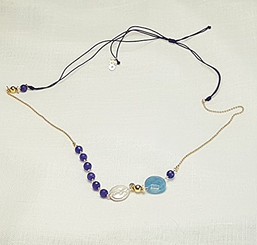 BLUE KUWARTS: Perla keshi con cuarzo celeste