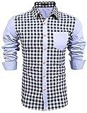 Burlady Herren Hemd Kariert Cargohemd Trachtenhemd Baumwolle Freizeit Regular Fit(Blau,M)