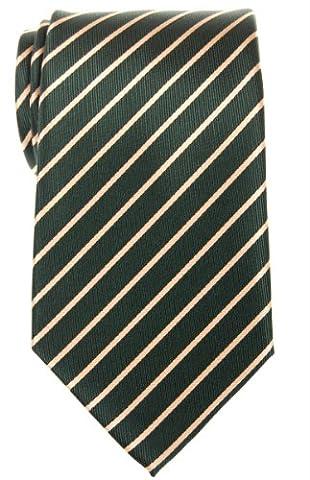 Retreez Thin Regimental Striped Woven Microfiber Men's Tie - Green with Gold Stripe