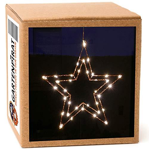 Gartenpirat LED-Stern 30x28 beleuchtet für Fenster Weihnachten mit 25 LED Timer