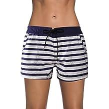 Dolamen Mujer Shorts de baño, trajes de baño Bañador Deportivo Traje de Baño Bañador de natación Bikini Para Mujer bragas pantalones cortos, Con cordón ajustable Estilo boyleg
