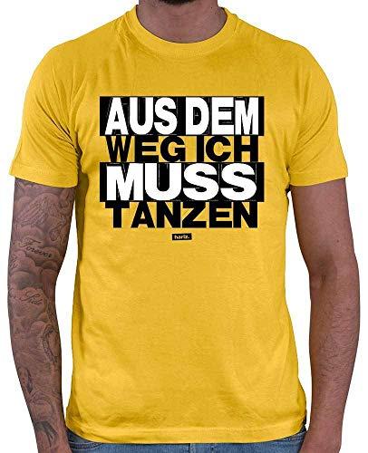 HARIZ  Herren T-Shirt Aus Dem Weg Ich Muss Tanzen Sprüche Schwarz Weiß Inkl. Geschenk Karte Gold Gelb ()
