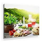 Küchen Bild B380, 1 Teil 80x80cm Leinwand auf Holzrahmen aufgespannt, FineArt Print, UV-stabil und wasserfest, Kunstdruck für Büro oder Wohnzimmer, Deko Bild, mediterranes Frühstück