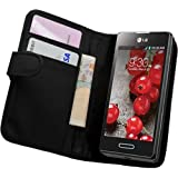 Membrane - Black Wallet Case for LG Optimus L5 II (E460) - Flip Phone Pouch Cover + 2 Screen Protectors