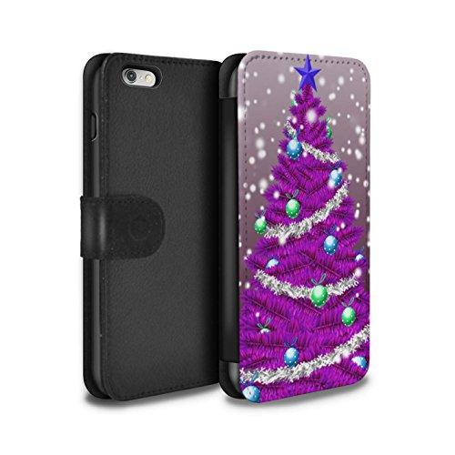 STUFF4 PU-Leder Hülle/Case/Tasche/Cover für Apple iPhone 6+/Plus 5.5 / Rot Muster / Weihnachts Tannenbaum Kollektion Lila
