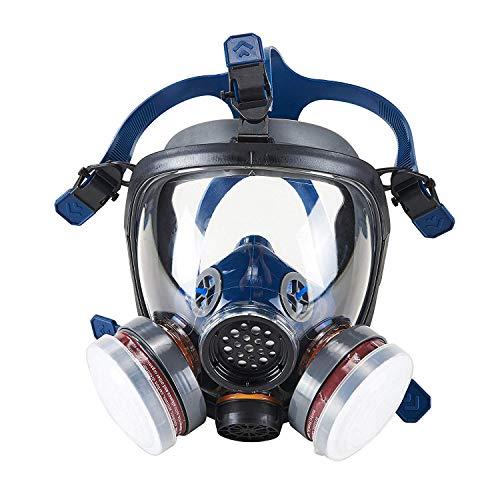 OHMOTOR Silikon Vollmaske Atemschutzmaske mit niedrigstem Atemwiderstand für Dämpfen Staub Farbe EN-Sicherheit Zertifiziert