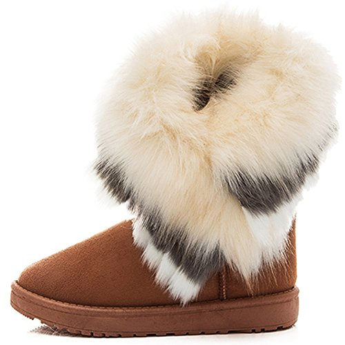 SGoodshoes Women Faux Fur Boots Mid Calf Slip On Boot Winter Lined...