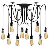 Lightsjoy Lampada a Sospensione 10 luci, Ragno Luci Plafoniere Multiple a plafone Edison E27 Lampada Fai da Te per Feste Illuminazione Notturna da Camera da Pranzo