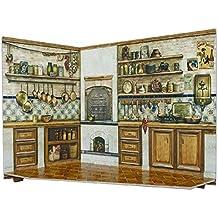 Keranova keranova291–0426x 20x 15cm con caja y colección de muebles para casa de muñecas cocina habitación de papel 3d Puzzle (2piezas)