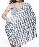 SWEETBB elastisches graues und weißes Streifen - Stillschal Stilltuch Nursing cover, 2 in 1 Halstuch zum Stillen, Super-soft, Atmungsmaterial