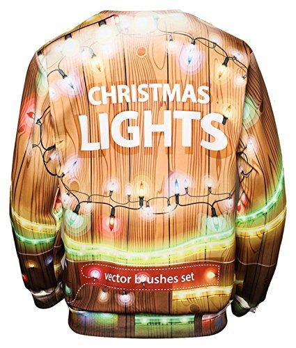 Pizoff Unisex Hip Hop Sweatshirts mit Bunt 3D Weihnachten Christmas Digital Printing Druckmuster AC017-06