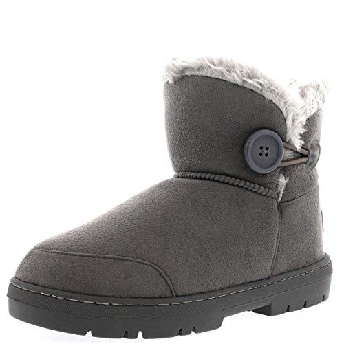 Winter Wohnungen (Holly Damen Button Mini Pelz Gefüttert Warm Schuhe Winter Wohnung Schnee Regen Stiefel - Grau - GRE41 AEA0298)