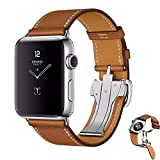 Yancosmos 1 Pcs Leather Band Deployment Buckle Single Tour Strap For Apple Watch 2/1 UK